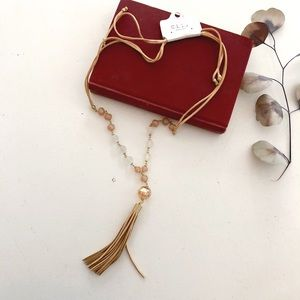 Champagne Leather Bead Tassel Necklace